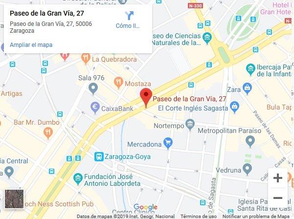 Mapa centro renovar el carnet de conducir en Zaragoza